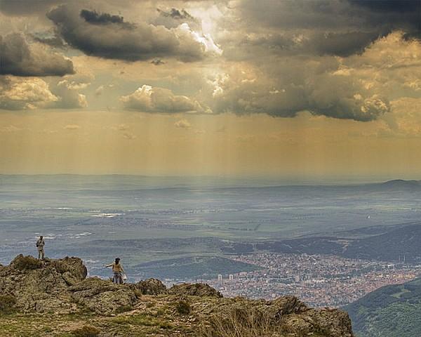 Panorama sur la plaine de Thrace et la ville de Sliven (Bul