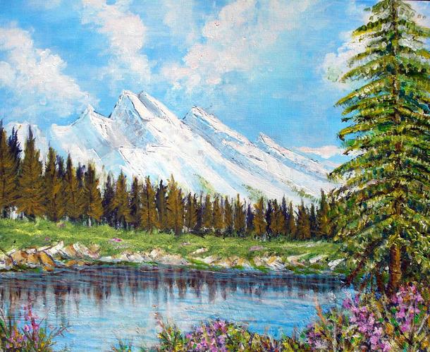 Mes Peintures Montagne Enneigee Surplombant Le Lac Acrylique Sur