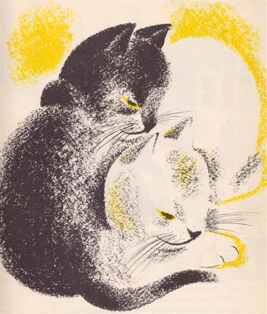 Tableau du samedi : Deux chats enlacés