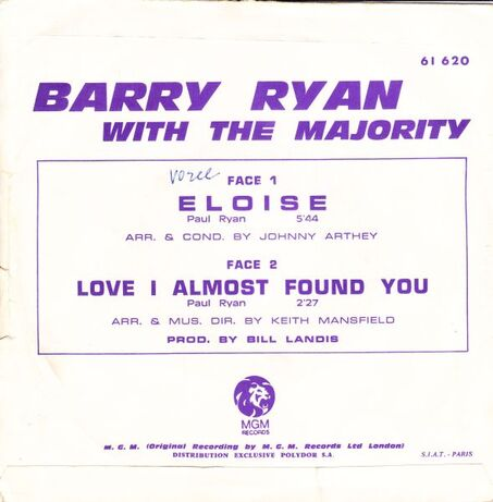Les SINGLéS # 66 : Barry Ryan -Eloise (1968)