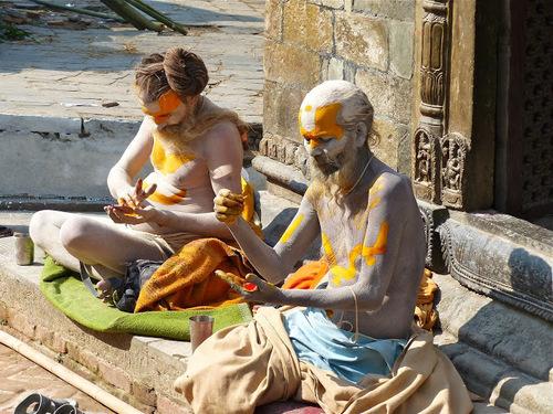 les sâdhus du temple de Pashupatinath à Kathmandu