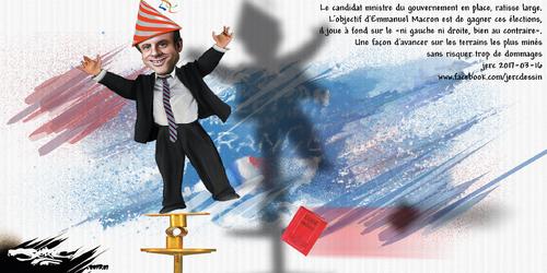 dessin de JERC jeudi 16 mars 2017 caricature Emmanuel Macron Ni de gauche ni de gauche www.facebook.com/jercdessin