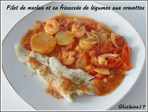 Filet de merlan et sa fricassée de légumes aux crevettes