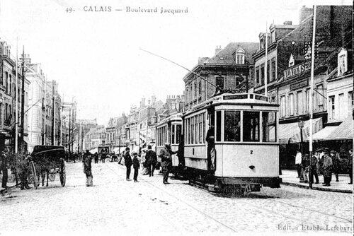 Le boulevard Jacquard et ses nouveaux tramways en 1908