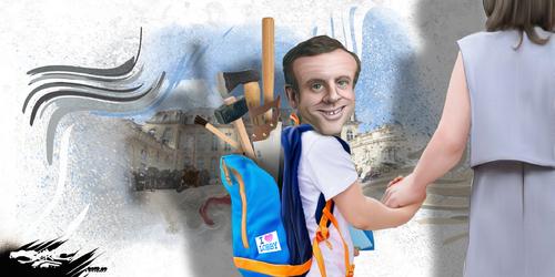 dessin de JERC du lundi 03 septembre 2018 caricature Manu Macron et Brigitte Macron Il n'y a pas que l'été qui va être caniculaire www.facebook.com/jercdessin @dessingraffjerc