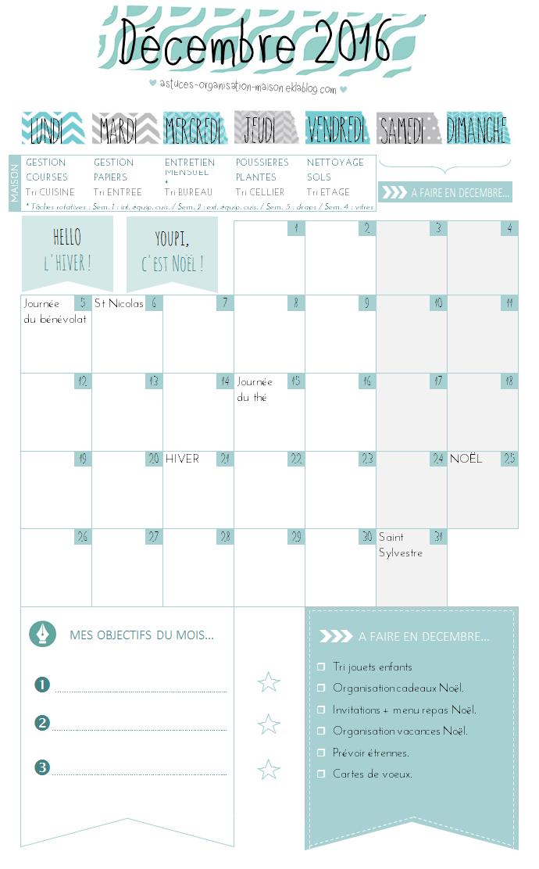 ✿ Un mois de décembre organisé {calendrier à imprimer}