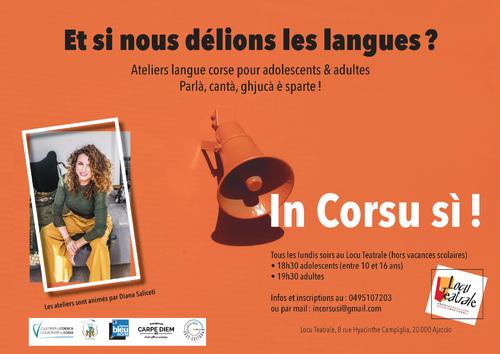 5 Octobre Atelier langue corse avec Diana Saliceti, 18h30-20h30.