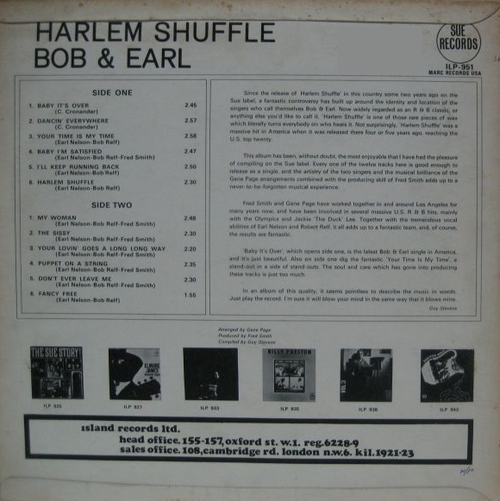 "Bob & Earl : Album "" Harlem Shuffle "" Sue Records ILP 951 [ UK ]"