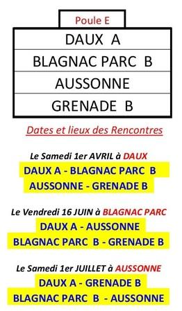 Les Poules les dates et lieux du Challenge de l'Amitié 2017.