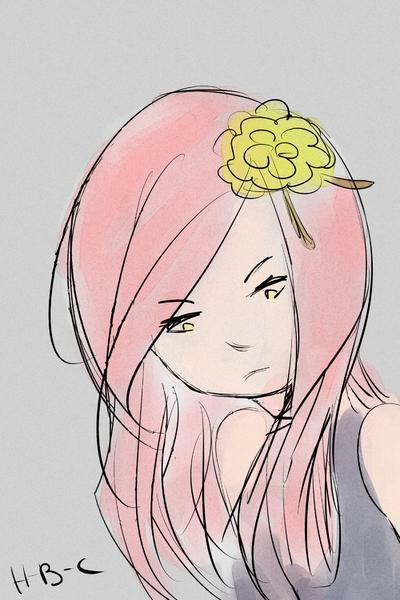 Fille aux cheveux roses