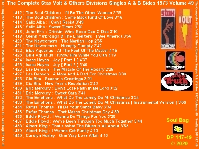 """ The Complete Stax-Volt Singles A & B Sides Vol. 49 Stax & Volt Records & Others Divisions "" SB Records DP 147-49 [ FR ]"
