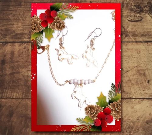 bracelet et boucles d'oreilles licornes