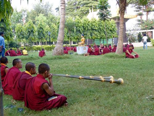 des moines en prière dans le parc d'un temple bouddhiste;