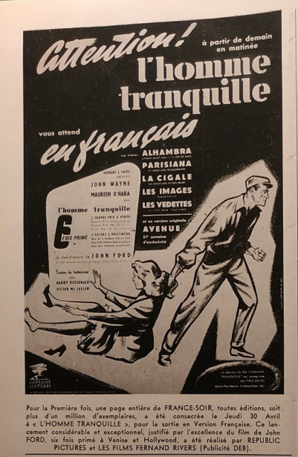 L'HOMME TRANQUILLE BOX OFFICE FRANCE 1953