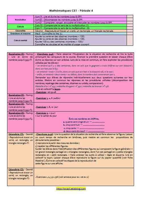Mathématiques CE1 période 4 - détails pour mon Cahier journal