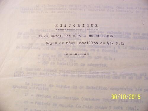 Historique du 8° Bataillon FFI du Morbihan (Episode -1)