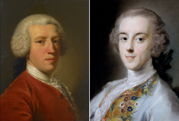 Left: Sir Horace Mann, painted by John Astley in Florence c.1751 (Bridgeman/Private Collection). Right: Horace Walpole, painted c. 1741 by Rosalba Giovanna Carriera (Courtesy of the Lewis Walpole Library, Yale University)