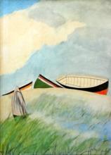 Léon SPILLIAERT (1881-1946) - Figure dans les dunes et barques