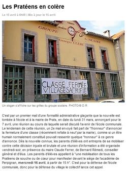 La population de Prats dit non à la fermeture d'une classe