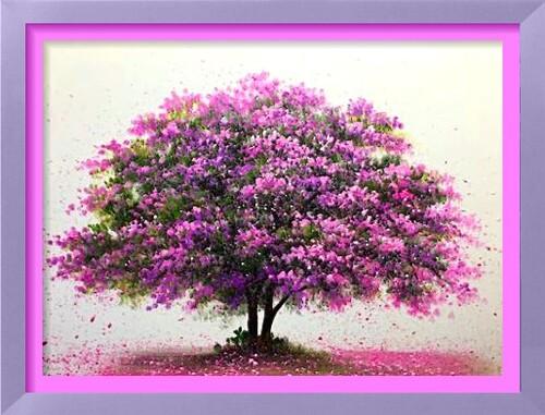 Dessin et peinture - vidéo 2179 : Apprenez à peindre un arbre à fleurs roses à l'acrylique, par tapotements, puis projection de peinture