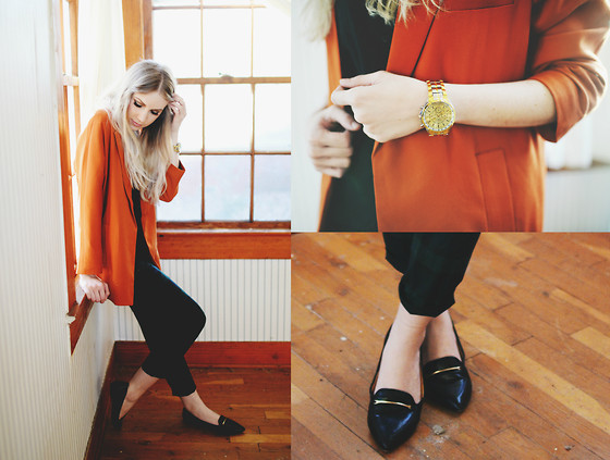 Ashley Treece - Forever 21 Oversized Blazer, Dolce Vita Pointed Flats, Boyfriend Watch - Orange Crush
