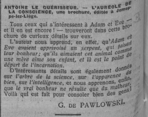 Brochure Antoine le Guérisseur (Comoedia 26 sept 1909)