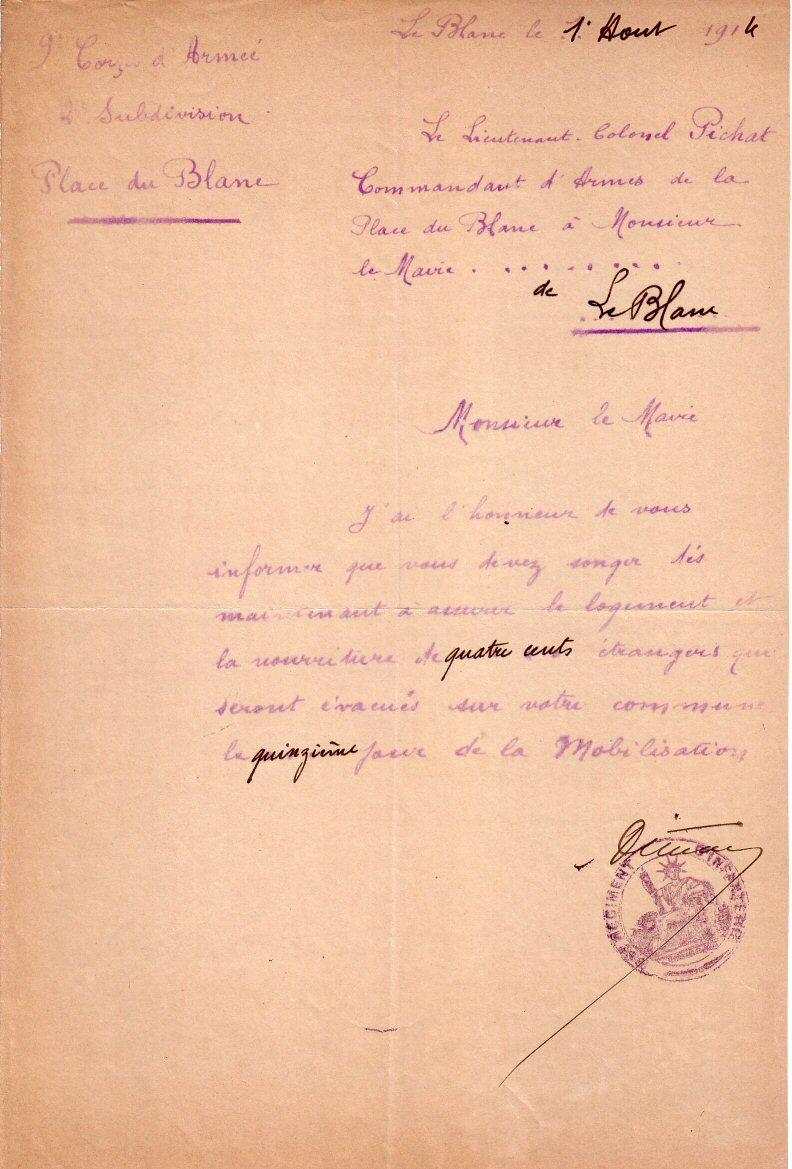 Accueil des étrangers évacués 1:8/1914