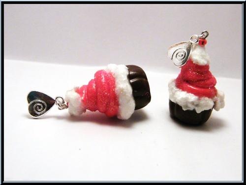 Boucles d'oreille gâteau cupcake chocolat de Noël.