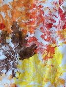 Tableau d'automne (peinture à la feuille)