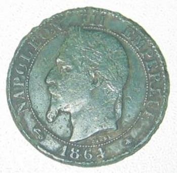 5 centimes Napoleon III 1864 Atelier  A  avers