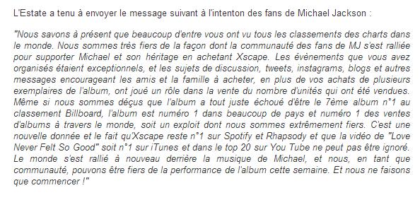 Message de l'Estate pour les fans de Michael Jackson