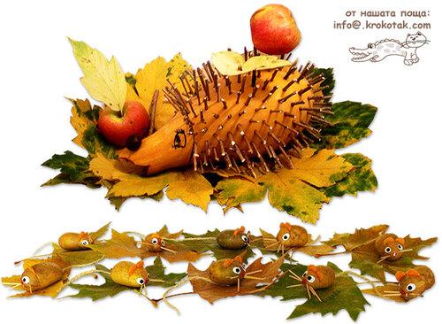 Un hérisson coloquinte et des souris pommes de terre