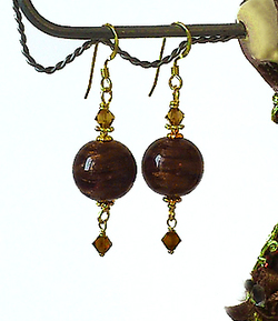 Boucles Verre de Murano authentique Brun translucide, Cristal de Swarovski / Plaqué Or Gold Filled