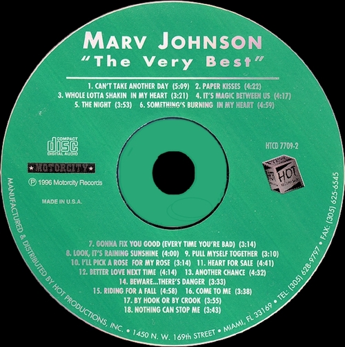 "Marv Johnson : CD "" The Very Best Of The Motorcity Recordings "" Motorcity Records HTCD 7709-2 [ US ]"