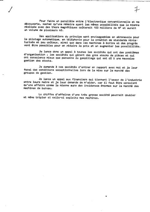 BREVET  en préparation en  1968 Machine autonome de gestion