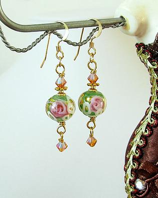 Boucles Verre de Murano authentique, Wedding Cake Vert Fleurs Roses et Feuille d'Or / Plaqué Or 14 kt Gold Filled
