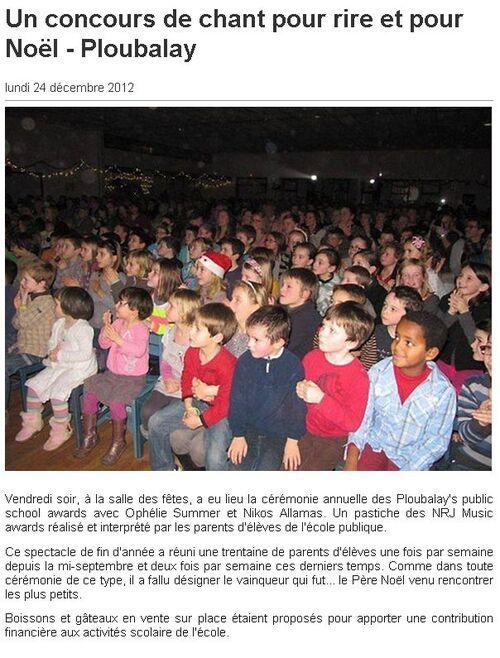 OUEST FRANCE - 24/12/2012 - Un concours de chant pour rire et pour Noël