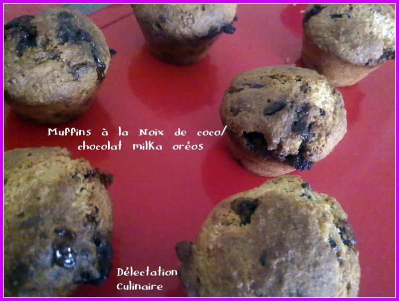 Muffins à la noix de coco et pépites de chocolat Milka aux Oréos