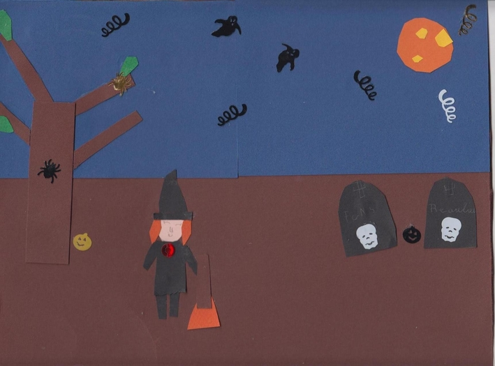 dessin-collage d'halloween - Flavie - 9 ans