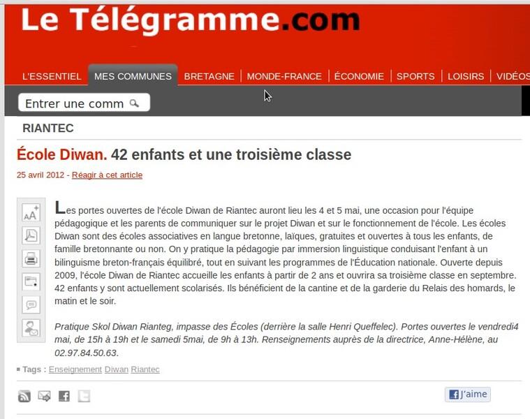 Ecole Diwan. 42 enfants et une troisième classe