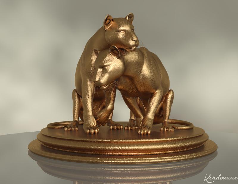 Fond d'écran : Statue dorée de couple de cougar