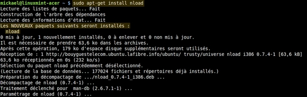 Monitorer sa bande passante avec Nload