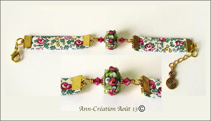 Bracelet Tissu Liberty Authentique Perles Verre Lampwork, Métal doré - Rose Or N°2