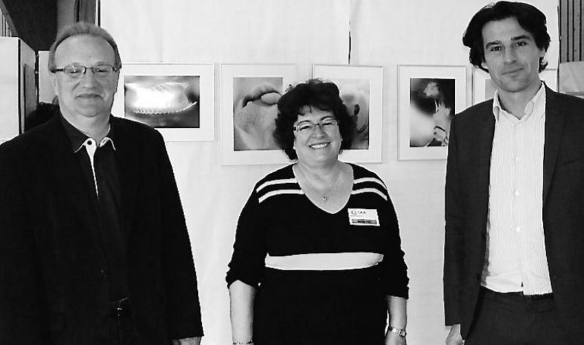 La présidente Myriam Biry entourée de Michel Delpon, maire, et Pierre Virmont, directeur du lycée des Territoires.
