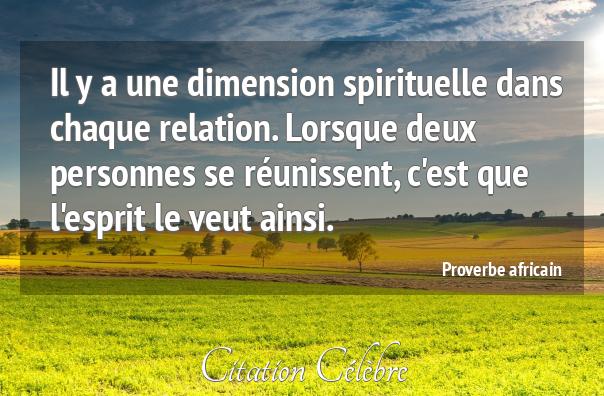 Proverbe  Africain sur Spirituelle