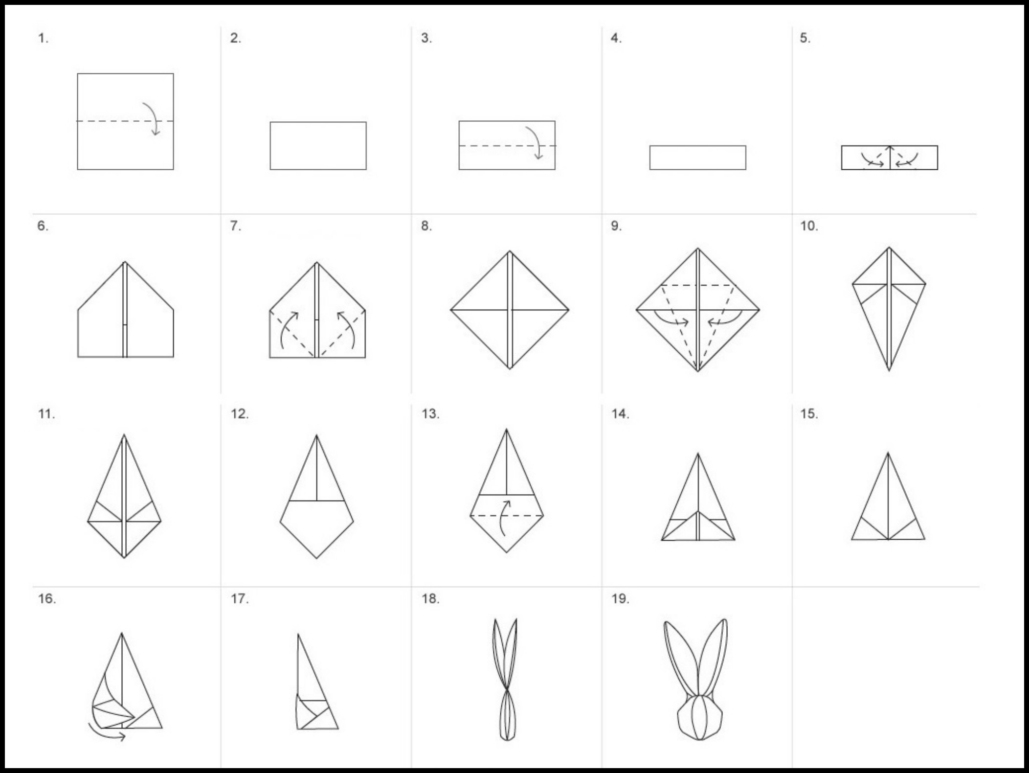 diy origami pliage de serviette lapin 1 la folie. Black Bedroom Furniture Sets. Home Design Ideas