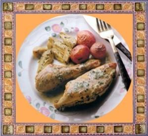 16 poulet à la crème et aux coeurs d'artichauts