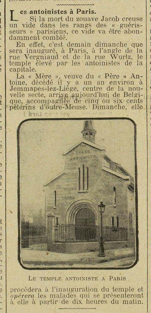 Les Antoinistes à Paris (Excelsior, 25 octobre 1913)