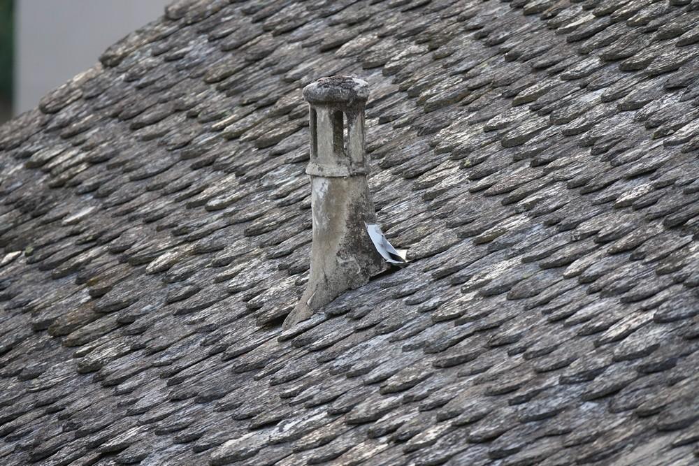 Coucher de soleil sur les toits, à Espalion...