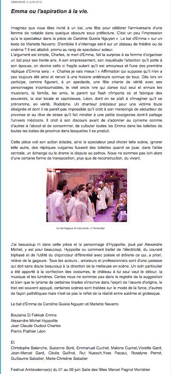 Un article sur Le Bal d'Emma (Valenscope)